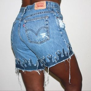Levi's Vintage 550 Custom Cut Off Fire Flame Denim